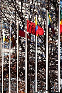 联合国总部前中国国旗