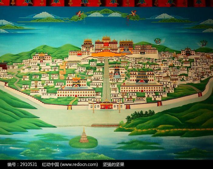 松赞林寺手绘全景
