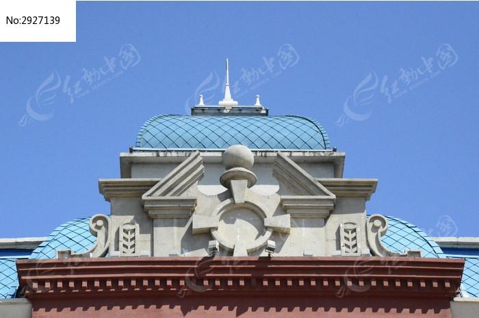 北戴河欧式建筑蓝色屋顶图片