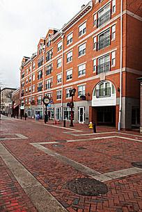 波士顿塞勒姆市街道道路用砖铺成