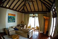 马尔代夫Coco岛豪华水上别墅的客厅