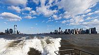 美国曼哈顿 城市的蓝天白云
