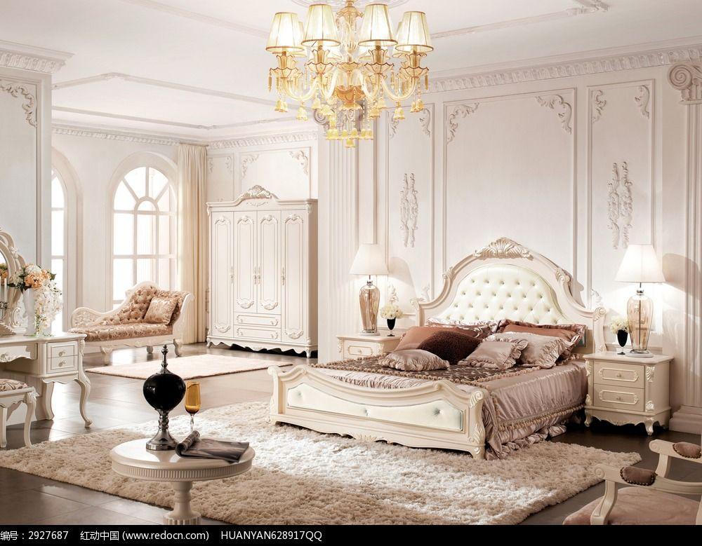 白色法式软床 床头柜 地毯 衣柜 吊灯 产品背景图图片