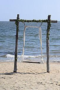 婚纱照布景专用海边秋千