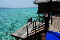 马尔代夫Coco岛水上别墅附带的私人浮潜区