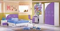 深蓝色儿童床背景