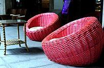 时尚红色藤椅