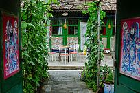 农家院的院门和院里的丝瓜藤