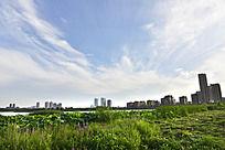 大气蓝天白云绿草地