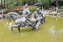 骑马涉水的将领