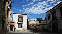西藏拉萨布达拉宫寺庙一角