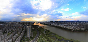 新安江城市鸟瞰图