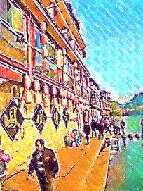凤凰古城建筑画