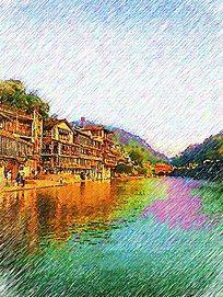 凤凰古城印象画