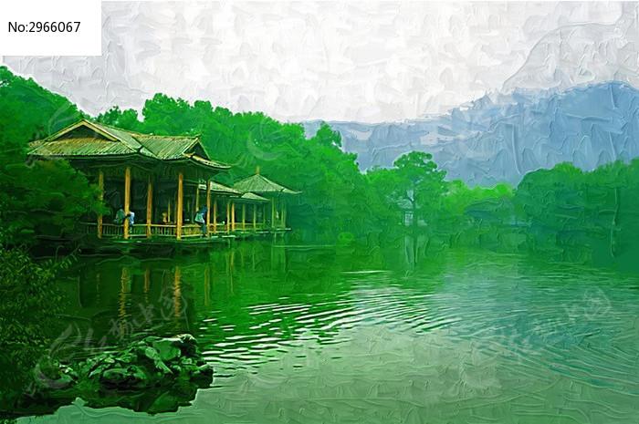 湖泊风景亭子图片