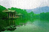 湖泊风景亭子