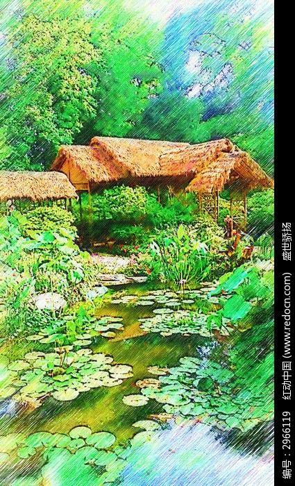 苏州拙政园建筑画
