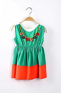 淘宝图片 项链 珠子 雪纺 绿色 连衣裙