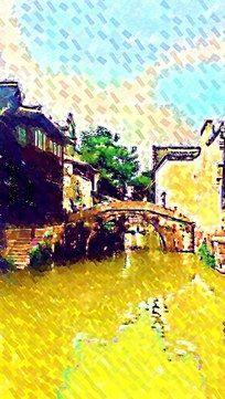 乌镇水墨风景画