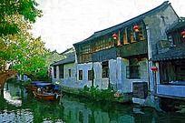西塘风景建筑画