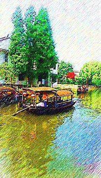西塘古镇风景画