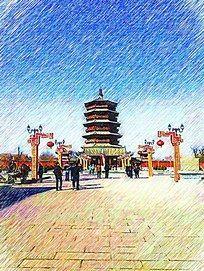 应县木塔风景