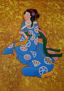 沉思的日本古代仕女图