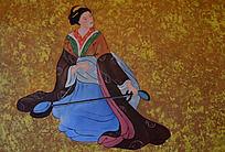 扶琴的古代仕女图