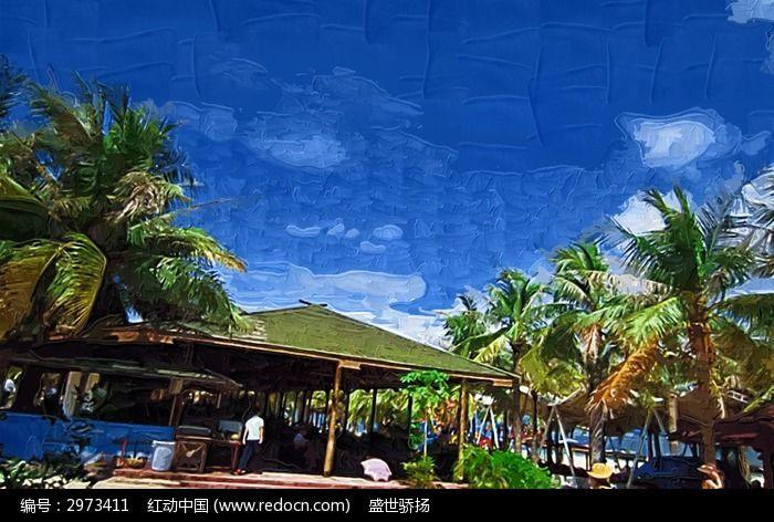海边彩画 椰子树