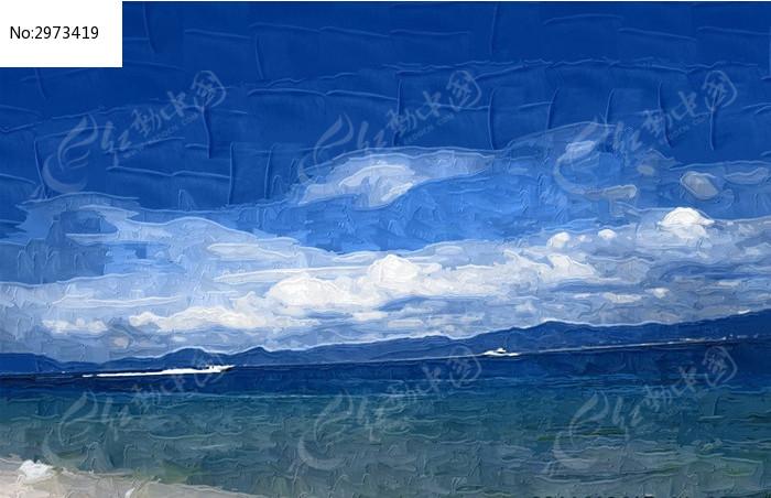 海上风景手绘插画