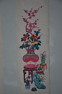 花卉盆景木刻版画