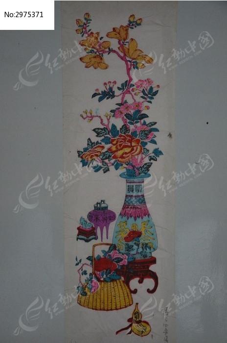 画 景观盆栽 版画艺术 雕版艺术 古代字画 艺术文化 木刻雕版 年画