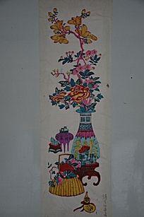 景观盆栽木刻版画