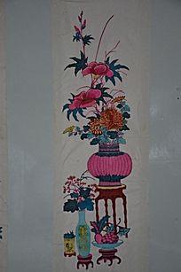木刻版画作品之花卉盆栽