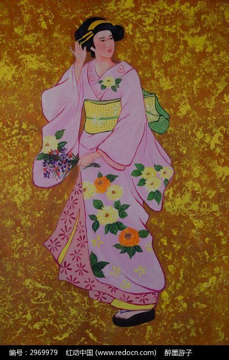 人物绘画 仕女图 手绘墙