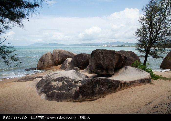 天涯海角风光  大海 海边 沙滩 石头 焦石 蓝天  海湾 椰子树 海南