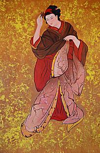 跳舞的日本古代仕女图
