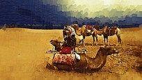 沙漠骆驼油画