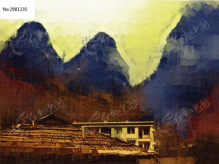 山坡风景油画