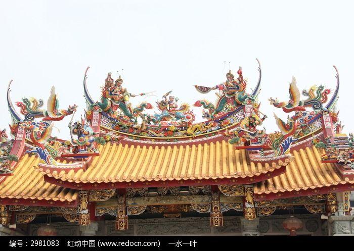 寺庙屋檐上的人物雕刻图片素材下载(编号:2981083)