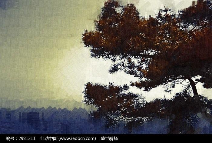 松树装饰画图片,高清大图