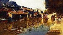 西塘古镇油画