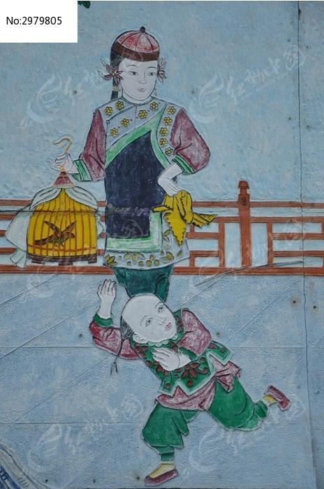 杨家埠壁画之放风筝的小女孩图片,高清大图 插画绘画素材图片