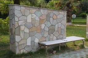 园林彩块石砖背景墙