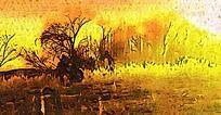 原野风景油画