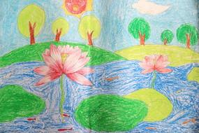儿童绘画荷塘