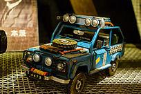 蓝色新款悍马越野车模型