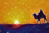 沙漠之旅油画