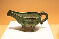 战国时期的青铜器瓦楞纹匜一种礼器供客人洗手