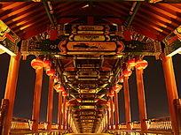 灯火辉煌的桥梁壁画夜景